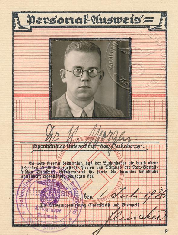 Konrad Morgen's Nazi Party ID card, 1936.