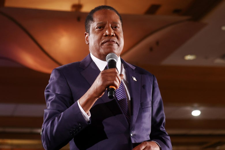 Gubernatorial recall candidate Larry Elder speaks to supporters at an election night event on September 14, 2021 in Costa Mesa, California.