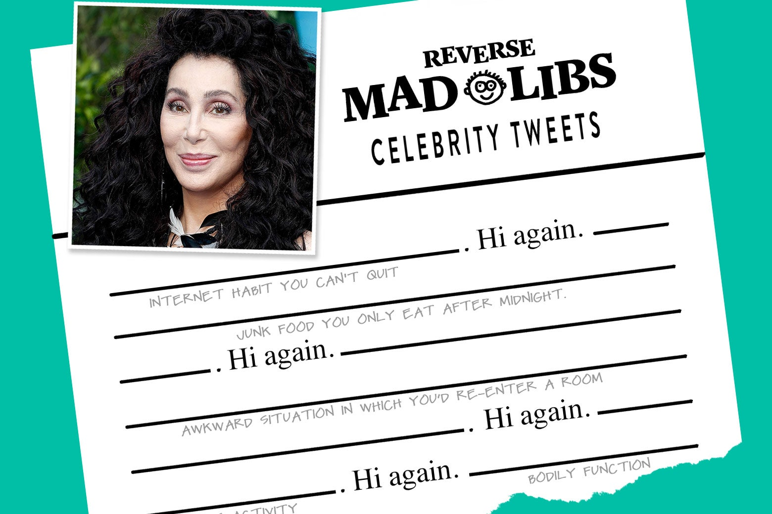 "Mad Libs in reverse, with ""Hi again"" inserted throughout and a photo of Cher at the top."