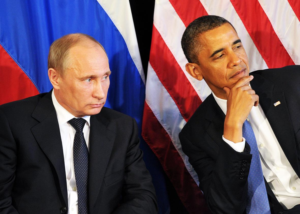 US President Barack Obama meets his Russian counterpart Vladimir Putin in Los Cabos, Mexico, on June 18, 2012, during the G20 leaders Summit.