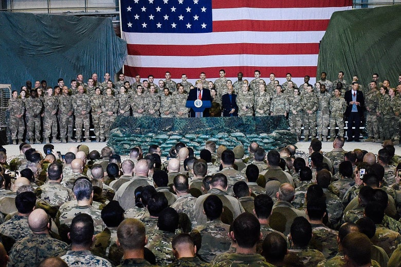 President Donald Trump speaks to U.S. troops during a surprise visit at Bagram Air Field in Afghanistan on Nov. 28.