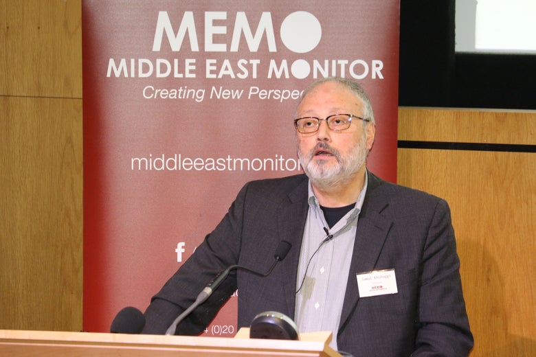 Jamal Khashoggi speaks at an event hosted by Middle East Monitor in London on Sept. 29, 2018.