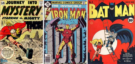 Comic book covers for Thor, Nov. 1962; Iron Man, 1977; and Batman, winter 1940.