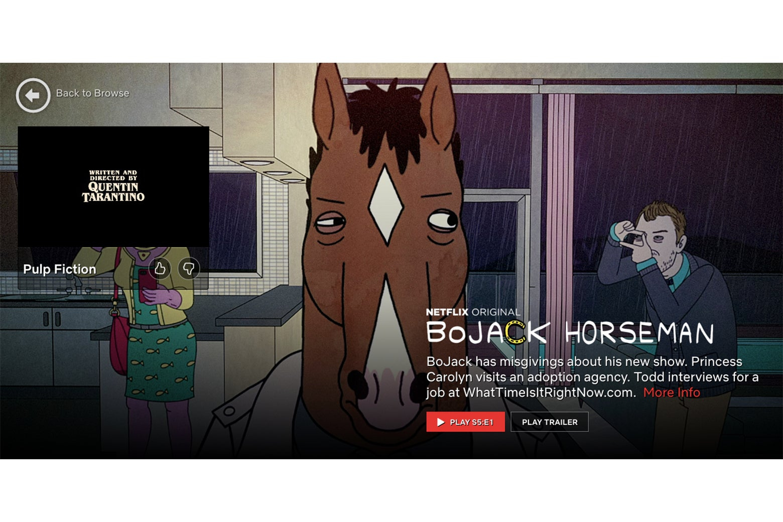 The closing credits of Pulp Fiction, buried in a giant ad for Bojack Horseman.