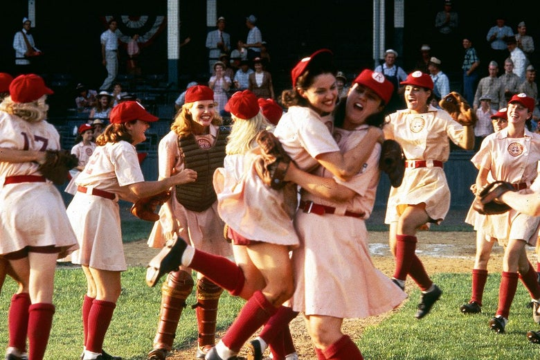 Scene of team celebrating on the field in A League of Their Own.