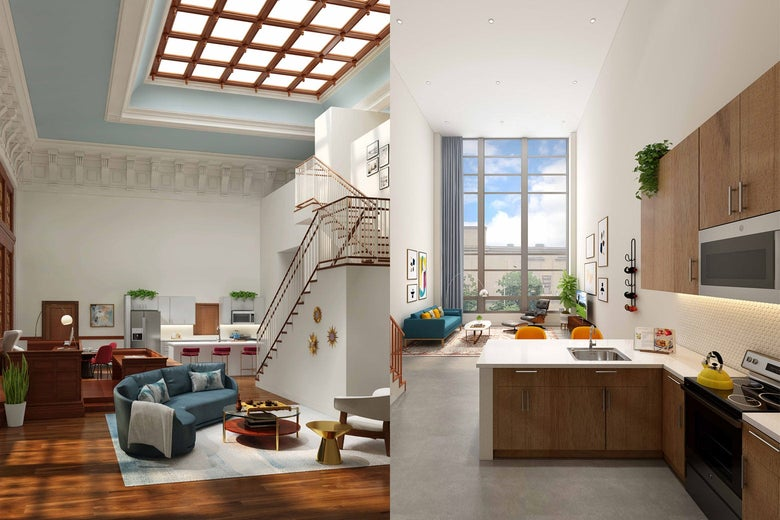 Two airy interiors of new apartments. On the left, a dramatic staircase leading to a large, gridded skylight. On the right, a kitchen and living room.