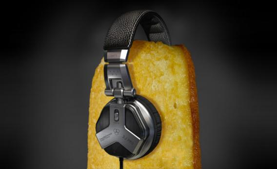 A twinkie wearing headphones