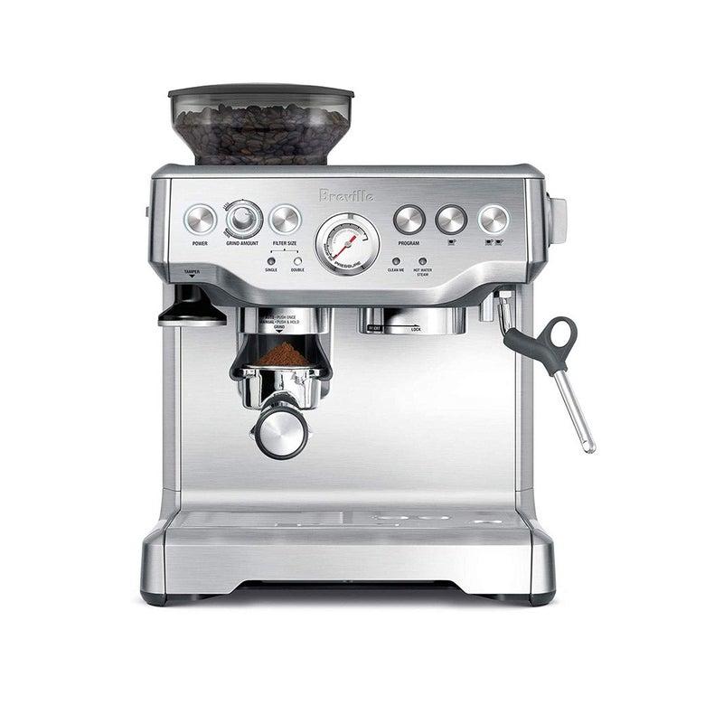 A Breville stainless steel espresso machine.