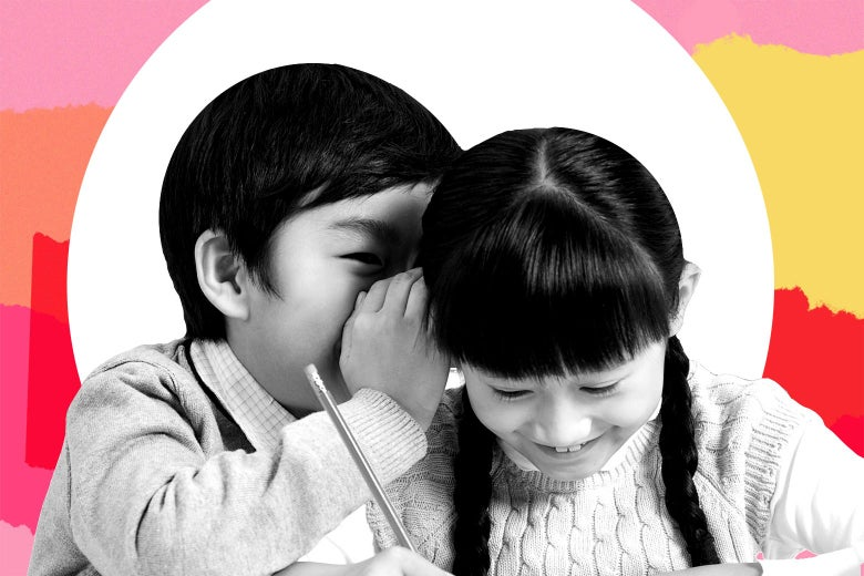 A boy whispering something in a girl's ear, both smirking.