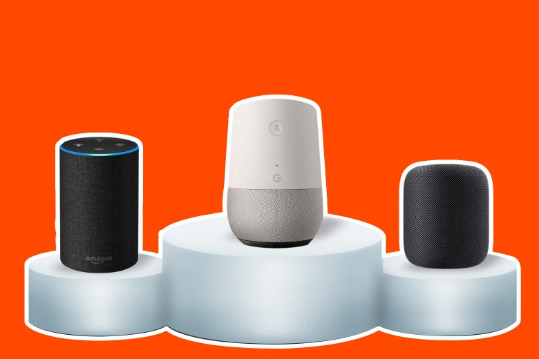A podium with Google Home at top, besting Amazon Echo and the Apple HomePod.