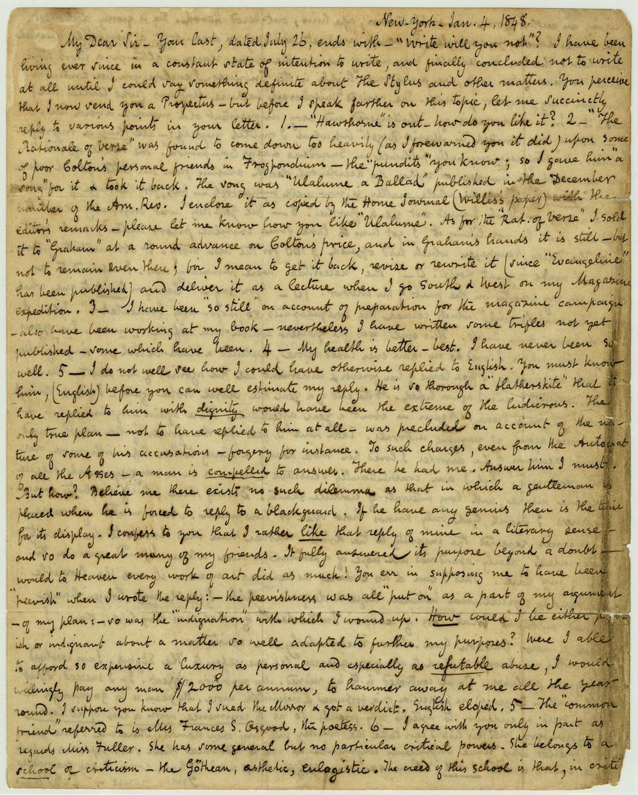 Edgar Allan Poe: A letter to a fan in which he tells the story of Virginia Poe's death.
