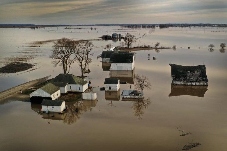 Floodwater surrounds a Missouri farm.