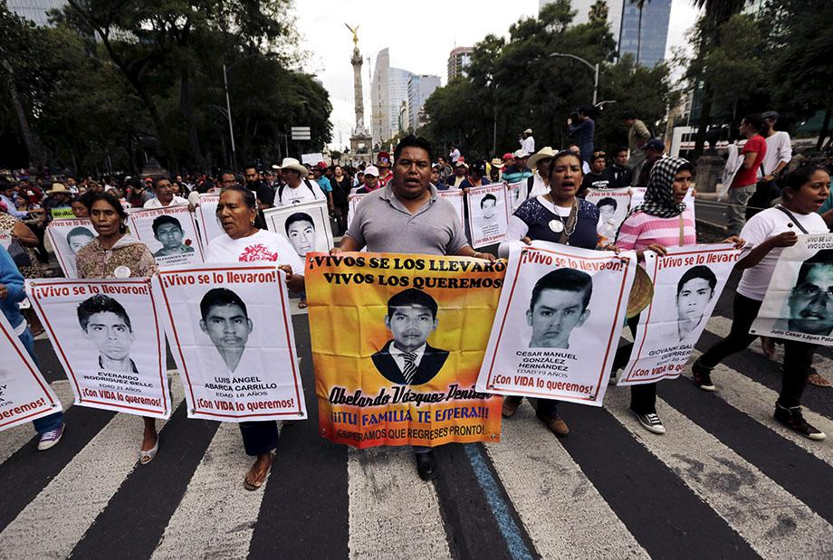 he 43 missing students of the Ayotzinapa teachers' training coll