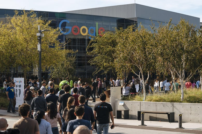 MOUNTAIN VIEW, CA - NOVEMBER 01: Google employees walk off the job to protest the company's handling of sexual misconduct claims, on November 1, 2018, in Mountain View, California. Employees were seen staging walkouts at offices around the world after a report last week that Google gave $90 million in a severance package to Any Rubin and covered up details of his sexual misconduct allegations, which triggered his departure. (Photo by Mason Trinca/Getty Images)