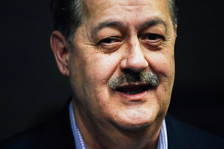 Republican primary candidate for U.S. Senate Don Blankenship speaks at a town hall meeting at West Virginia University on March 1 in Morgantown, West Virginia.