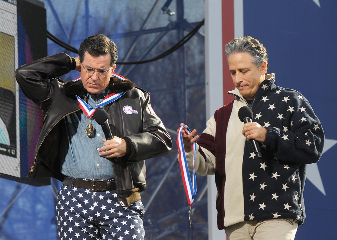 Stephen Colbert and Jon Stewart.