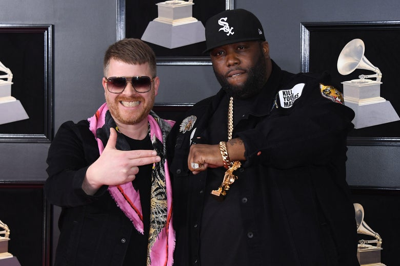 Run the Jewels arrive for the 60th Grammy Awards on January 28, 2018, in New York.  / AFP PHOTO / ANGELA WEISS        (Photo credit should read ANGELA WEISS/AFP/Getty Images)