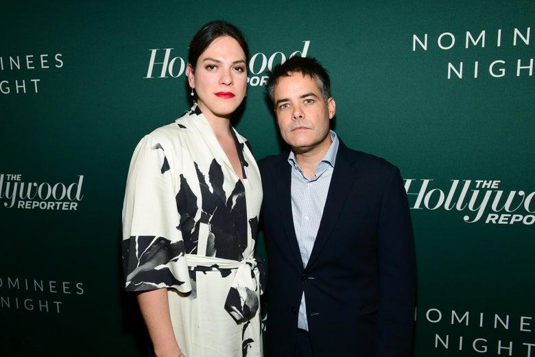 Daniela Vega and Sebastian Lelio take a portrait on a red carpet.