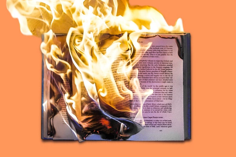 An open book is on fire against an orange background.