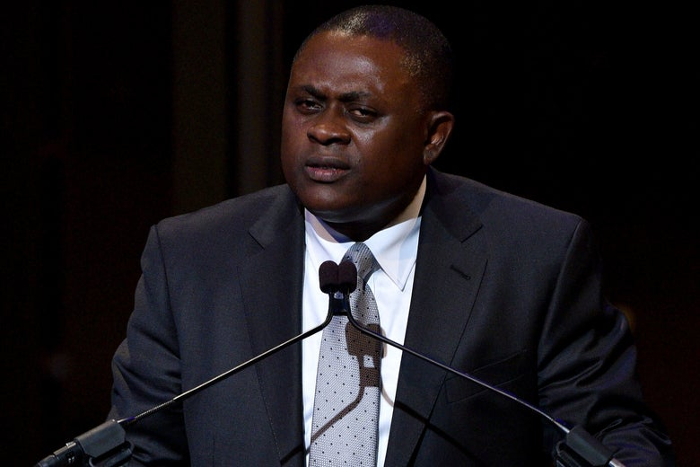 Bennet Omalu speaking at an event in New York City on Nov. 5, 2015.