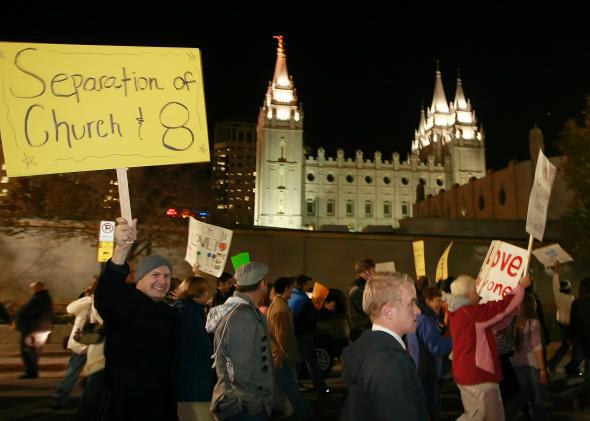 Thousands gather outside the world headquarters of the Church of Jesus Christ of Latter Day Saints in Salt Lake City, Utah, in 2008 to protest the Mormon church's support for Proposition 8.