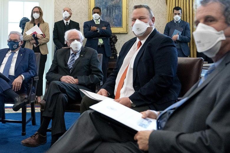 Democratic senators meet with President Joe Biden to discuss COVID relief legislation on February 03, 2021 in Washington, DC.