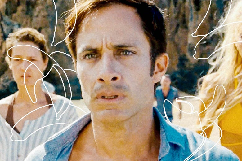 Gael Garcia Bernal surrounded by outlined shapes of bananas