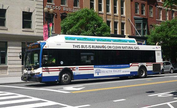 "A Metro bus in DC operating on ""clean natural gas."""