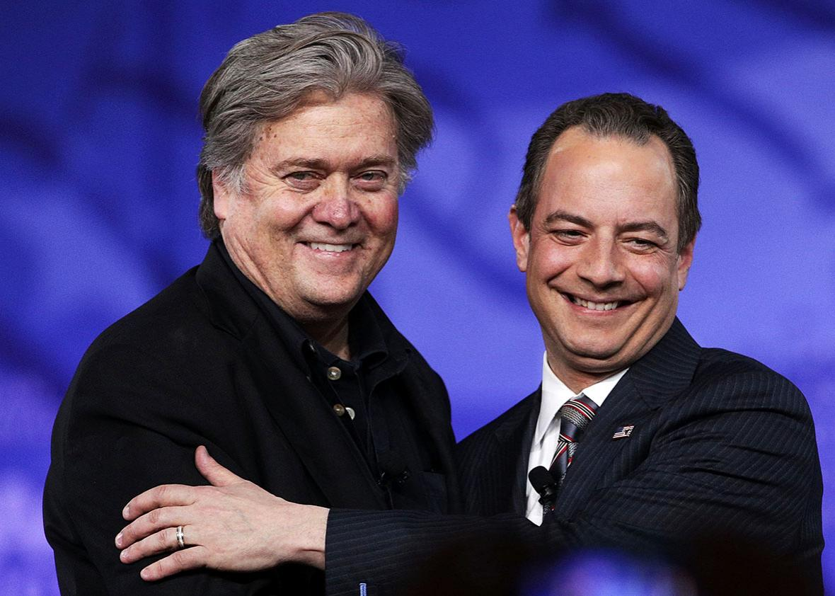 White House Chief of Staff Reince Priebus and White House Chief Strategist Steve Bannon arrive on stage for a conversation during the Conservative Political Action Conference at the Gaylord National Resort and Convention Center February 23, 2017 in National Harbor, Maryland.
