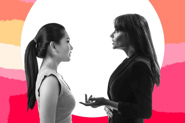 Photo illustration of two women talking.