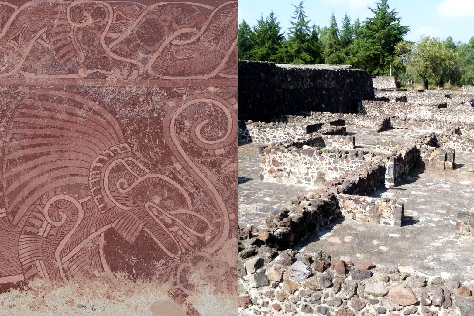 A fresco painting of a jaguar from the residential compound known as Atetelco. Paintings like this decorated the walls of most of the houses of Teotihuacán. Living quarters in the residential compound known as Tetitla. These large rooms and spaces are typical of the dwellings of the majority of the people at Teotihuacán.