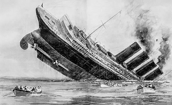 Sinking of the Lusitania, May 15, 1915.