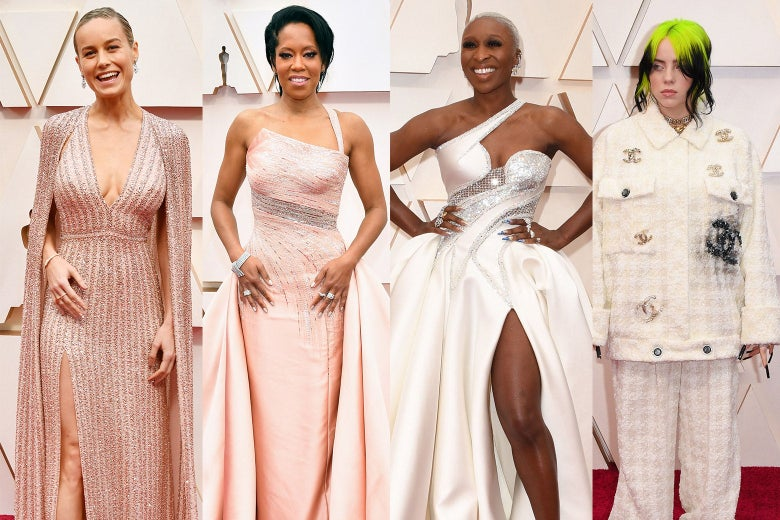 Collage of Brie Larson, Regina King, Cynthia Erivo, and Billie Eilish wearing light pink and white on the red carpet.