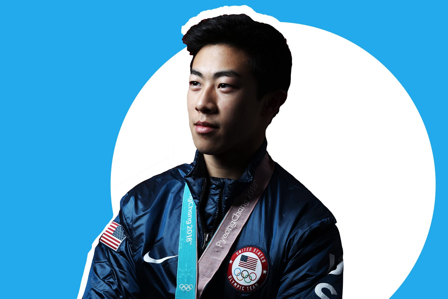 United States Men's Figure Skater Nathan Chen poses for a portrait with his bronze medal in the team event on the Today Show Set on February 17, 2018 in Gangneung, South Korea. (Photo by Marianna Massey/Getty Images)