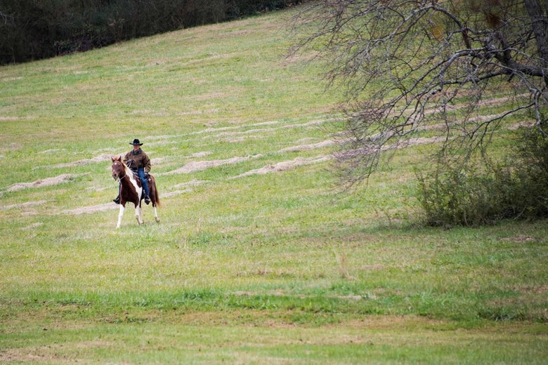 "Roy Moore rides his horse ""Sassy"" to a polling station in Gallant, Alabama on Tuesday."