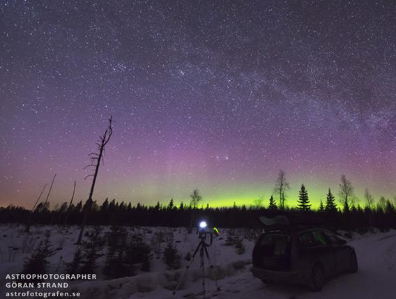 Comet, galaxy, aurora