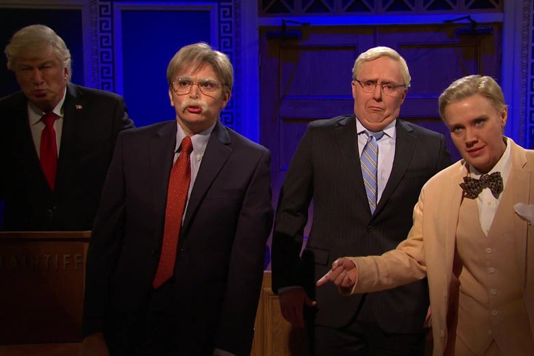 Alec Baldwin as Donald Trump, Cecily Strong as John Bolton, Beck Bennet as Mitch McConnell, and Kate McKinnon as Lindsay Graham sing together in a still from Saturday Night Live.