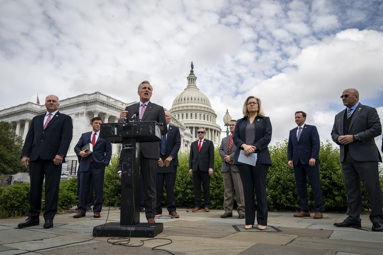 Surrounded by fellow House Republican members, House Minority Leader Rep. Kevin McCarthy speaks during a news conference outside the U.S. Capitol, May 27, 2020 in Washington, DC.