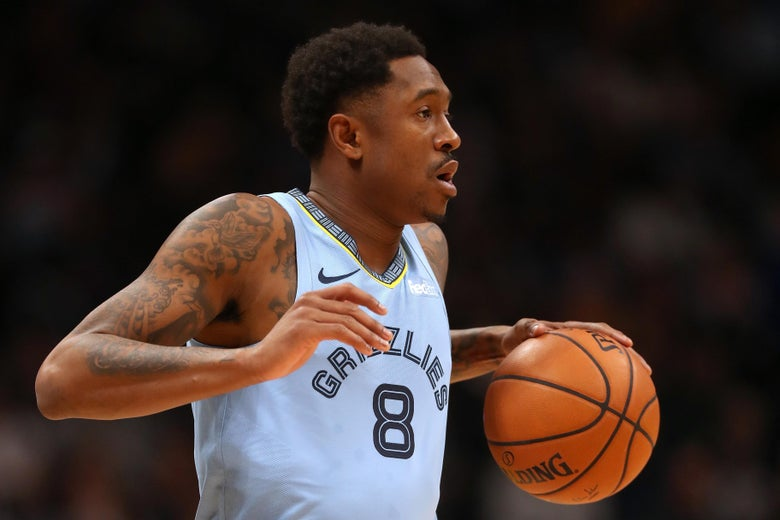 DENVER, CO - DECEMBER 10:  Marshon Brooks #8 of the Memphis Grizzlies plays the Denver Nuggets at the Pepsi Center on December 10, 2018 in Denver, Colorado. NOTE TO USER: User expressly acknowledges and agrees that, by downloading and or using this photograph, User is consenting to the terms and conditions of the Getty Images License Agreement.  (Photo by Matthew Stockman/Getty Images)