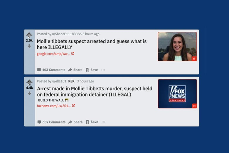 Headlines from The_Donald about Mollie Tibbetts.
