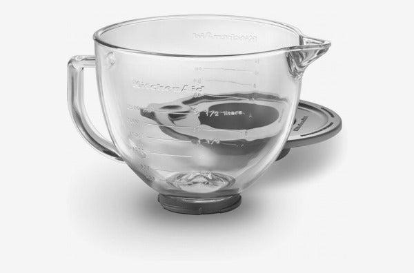 KitchenAid K5GB 5-Quart Tilt-Head Glass Bowl With Measurement Markings & Lid.