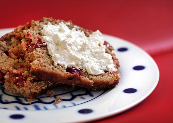 Cranberry bread with cream cheese.