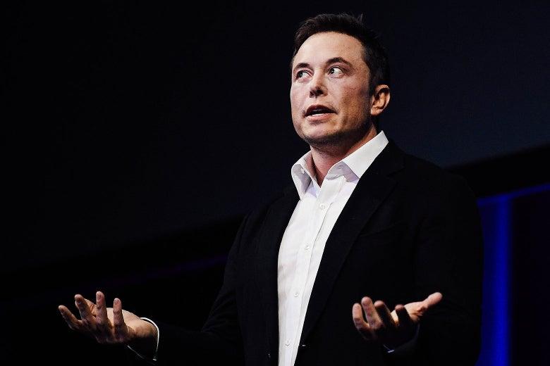 Elon Musk giving a speech.