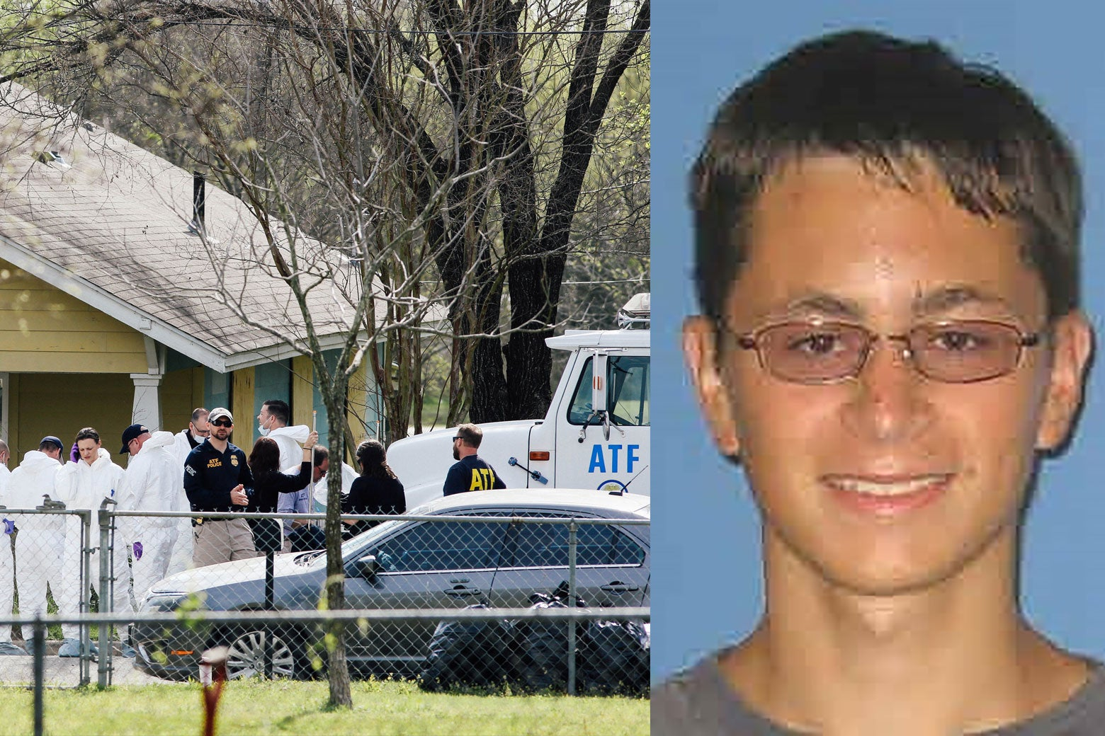 Side-by-side: Left: Law enforcement personnel investigate the home where Austin serial bomber Mark Anthony Conditt lived in Pflugerville, Texas. Right: Mark Anthony Conditt is seen in this undated handout photo released by Austin Community College.