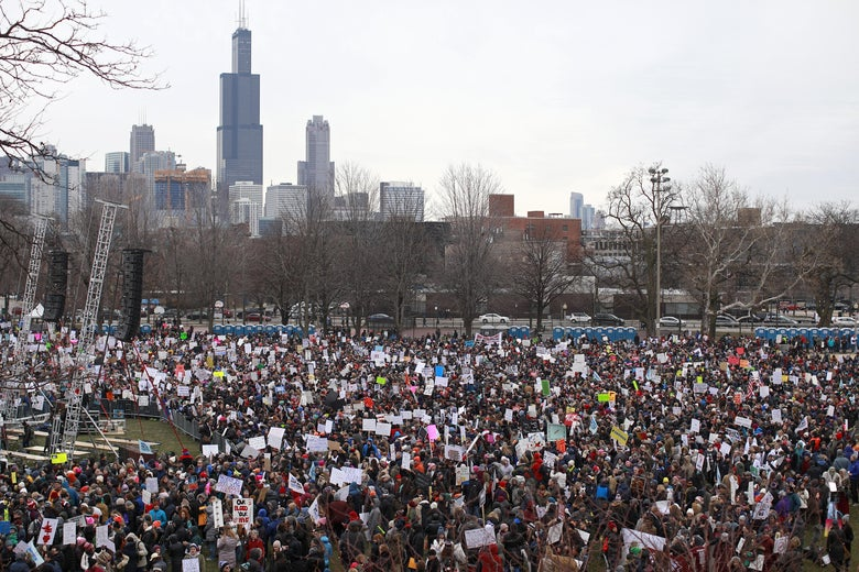 CHICAGO, IL - MARCH 24: Protestors gather for the March for Our Lives rally on March 24, 2018 in Chicago, Illinois. More than 800 March for Our Lives events, organized by survivors of the Parkland, Florida school shooting on February 14 that left 17 dead, are taking place around the world to call for legislative action to address school safety and gun violence. (Photo by Jim Young/Getty Images)