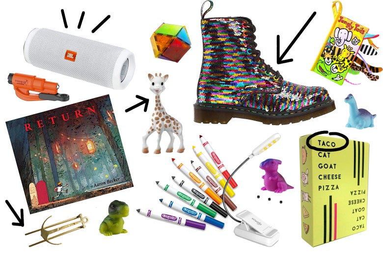 Collage of kids' gifts, including Bluetooth speaker, toy giraffe, markers, Doc Martens, and Taco Cat Goat Pizza