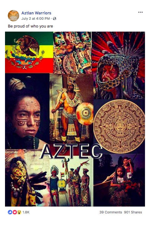 "Screengrab from the removed ""Aztlan Warriors"" Facebook group."