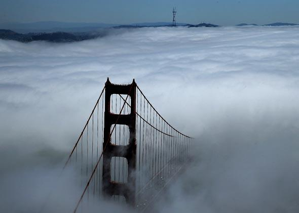 The north tower of the Golden Gate Bridge is seen surrounded by fog on September 8, 2013 in San Francisco, California.