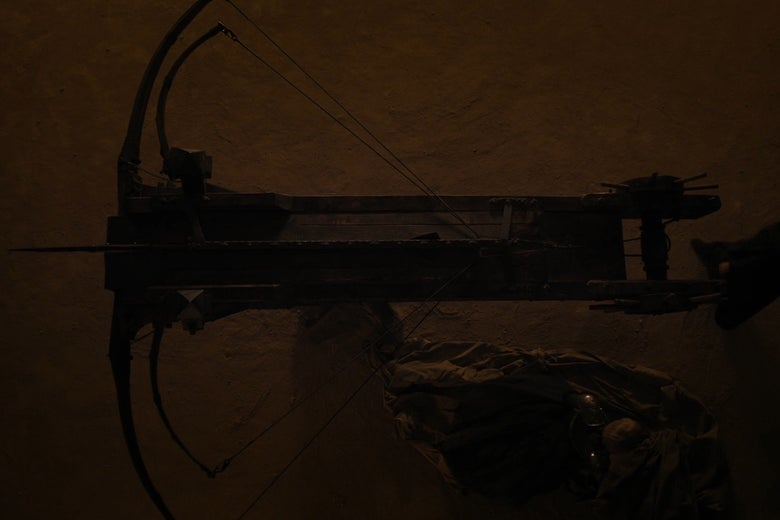 A massive mounted crossbow, photographed from above.