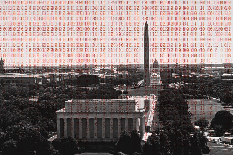 The National Mall overlaid with computer code.